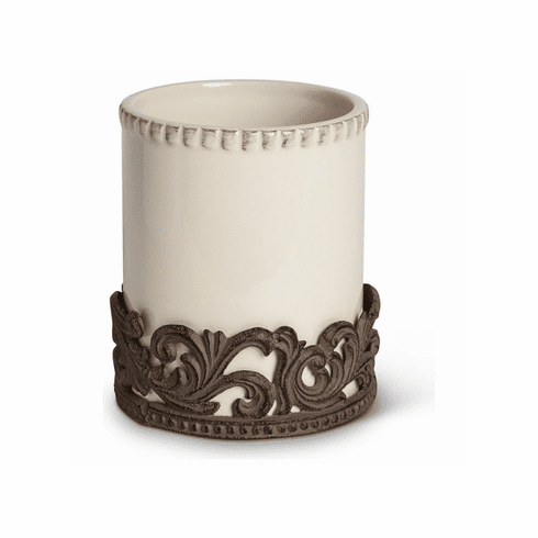 GG Collection Gracious Goods Cream Ceramic Utensil Holder with Metal Base