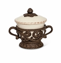 GG Collection Gracious Goods Cream Covered Bowl with Metal Holder