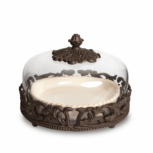 GG Collection Gracious Goods Cream Covered Pie Plate with Metal Base