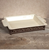 GG Collection Gracious Goods Large Cream Baker with Metal Base