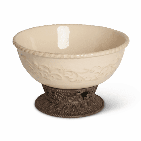 GG Collection Gracious Goods Large Cream Bowl with Metal Pedestal