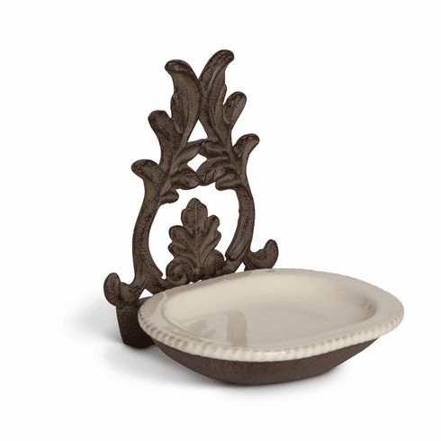 GG Collection Gracious Goods Metal Spoon Rest with Cream Ceramic Insert