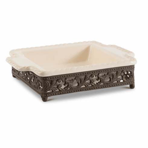 GG Collection Gracious Goods Small Cream Baker with Metal Base
