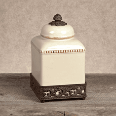 GG Collection Gracious Goods Small Cream Ceramic Canister with Metal Base