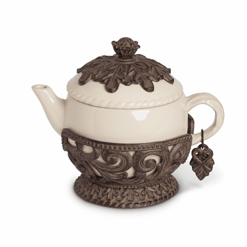 GG Collection Gracious Goods Teapot with Metal Base & Charm