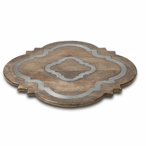 "GG Collection Mango Wood w/Metal Inlay Ogee-G Lazy Susan, 24""Dia x 2.5""H"