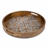 """GG Collection Mango Wood With Metal Inlay 24"""" Round Heritage Tray"""