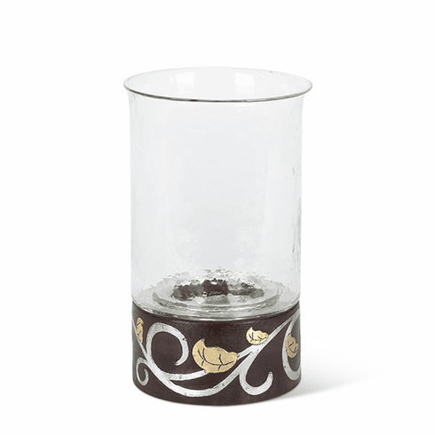 "GG Collection Mango Wood with Metal Inlay Gold Leaf 12""H Candleholder"