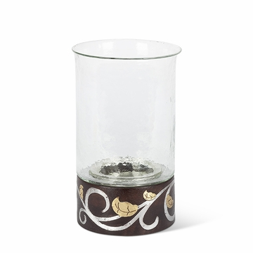 GG Collection Mango Wood with Metal Inlay Gold Leaf 12''H Candleholder