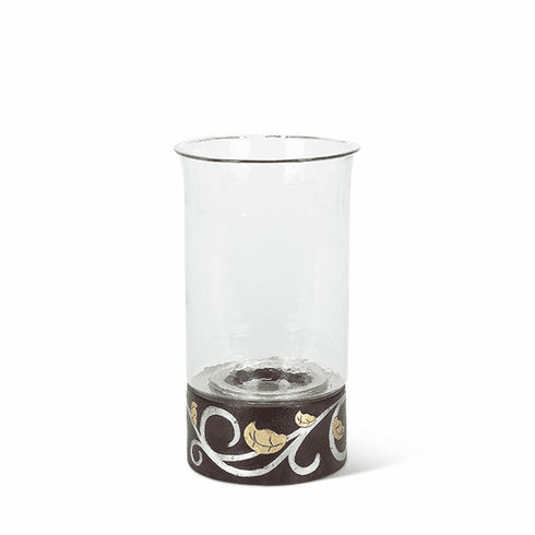 """GG Collection Mango Wood with Metal Inlay Gold Leaf 135""""H Candleholder"""
