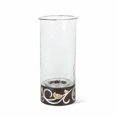 """GG Collection Mango Wood with Metal Inlay Gold Leaf 16""""H Candleholder"""