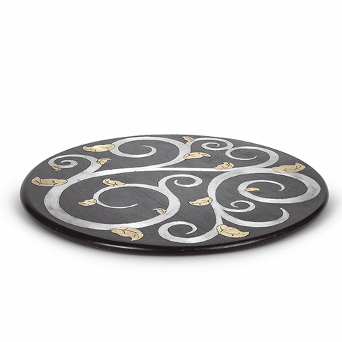 """GG Collection Mango Wood with Metal Inlay Gold Leaf 22"""" Lazy Susan"""