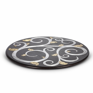 GG Collection Mango Wood with Metal Inlay Gold Leaf 22'' Lazy Susan