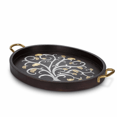 GG Collection Mango Wood with Metal Inlay Gold Leaf Large Oval Tray with Handles