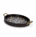 GG Collection Mango Wood with Metal Inlay Gold Leaf Medium Oval Tray with Handles