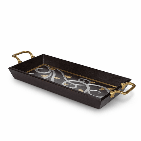 GG Collection Mango Wood with Metal Inlay Gold Leaf Rectangle Tray with Handles