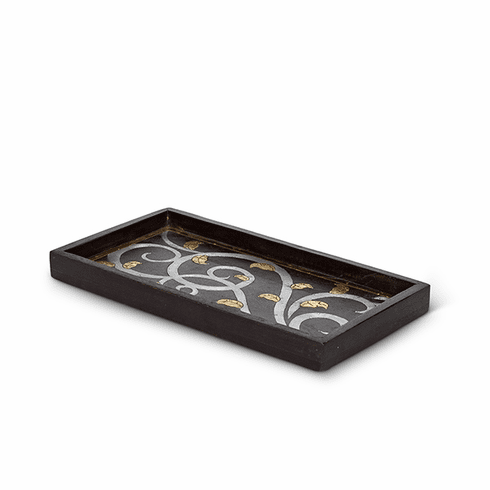 GG Collection Mango Wood with Metal Inlay Gold Leaf Small Rectangle Tray