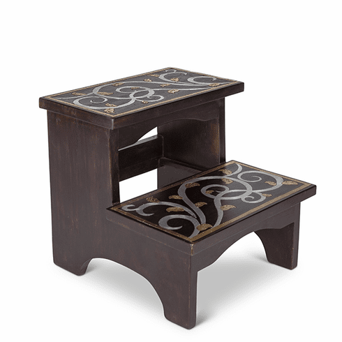 GG Collection Mango Wood with Metal Inlay Gold Leaf Step Stool