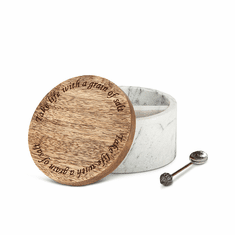 GG Collection Marble Wood Salt Box