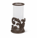 GG Collection Metal Acanthus Leaf Candle Holder with Glass Cylinder