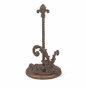 GG Collection Metal Acanthus Leaf Paper Roll Holder with Wood Base