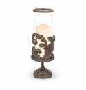 GG Collection Metal Acanthus Leaf Pedestal Candle Holder with Glass Cylinder