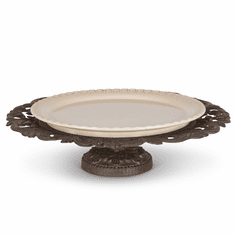 GG Collection Metal Acanthus Leaf Pedestal Server with Cream Stoneware Platter