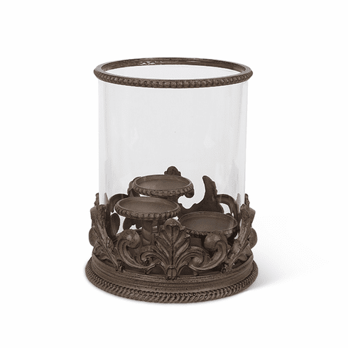 GG Collection Metal Acanthus Leaf Triple Candle Holder with Glass Cylinder