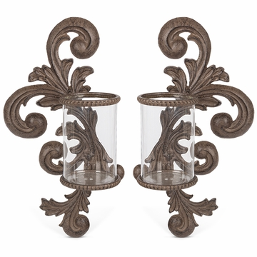 GG Collection Metal Acanthus Leaf Wall Sconce Set with Glass Cylinder