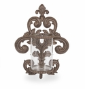 GG Collection Metal Acanthus Leaf Wall Sconce with Glass Cylinder