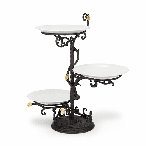 GG Collection Metal Gold Leaf 3-Tier Stand with White Stoneware Plates