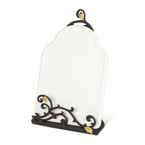 GG Collection Metal Gold Leaf Book & Tablet Holder Stand with White Stoneware Message Board