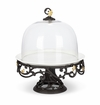 GG Collection Metal Gold Leaf Cake Pedestal with White Stoneware Plate and Glass Dome