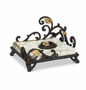 GG Collection Metal Gold Leaf Napkin Holder with Weight