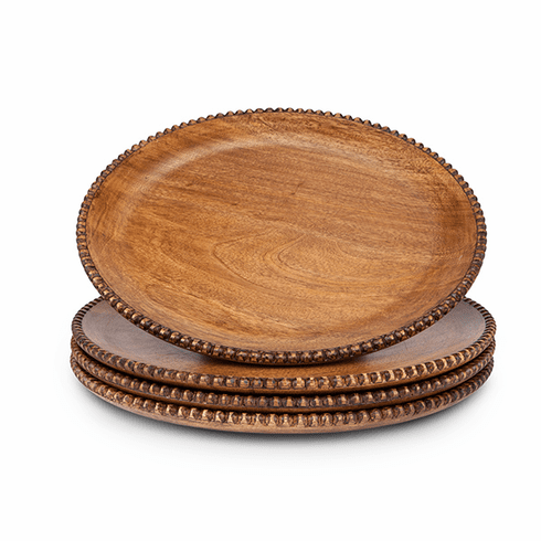 GG Collection Set Of 4 Mango Wood Beaded Charger 14 Diameter