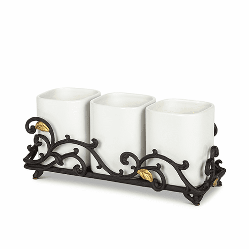GG Collection White 3-pc Stoneware Utensil or Decorative Holders with Metal Gold Leaf Base