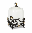 """GG Collection White Stoneware 12.25"""" Canister with Metal Gold Leaf Base"""
