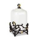 """GG Collection White Stoneware 13.25"""" Canister with Metal Gold Leaf Base"""