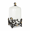 """GG Collection White Stoneware 14.25"""" Canister with Metal Gold Leaf Base"""
