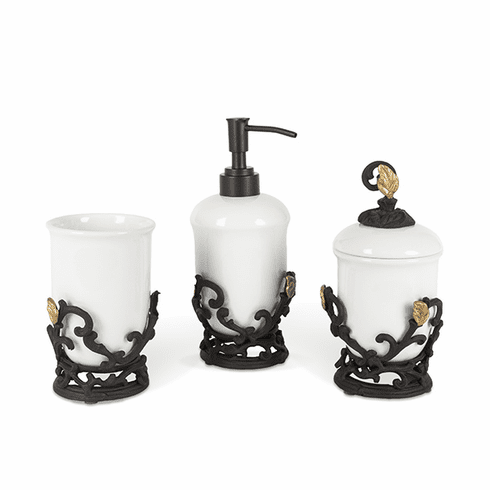 GG Collection White Stoneware 3-pc Vanity Set with Metal Gold Leaf Bases