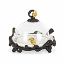 GG Collection White Stoneware & Glass Butter/Tidbit Server with Metal Gold Leaf Base
