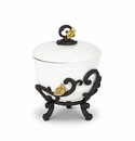 GG Collection White Stoneware Lidded Bowl with Metal Gold Leaf Base