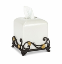 GG Collection White Stoneware Tissue Holder with Metal Gold Leaf Base