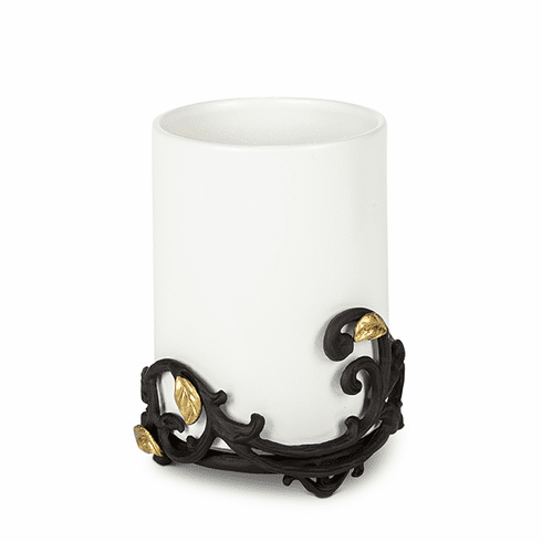 GG Collection White Stoneware Utensil Holder or Wine Chiller with Metal Gold Leaf Base