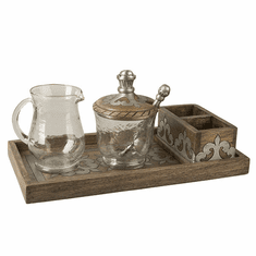 GG Collection Wood And Metal Cream And Sugar Set