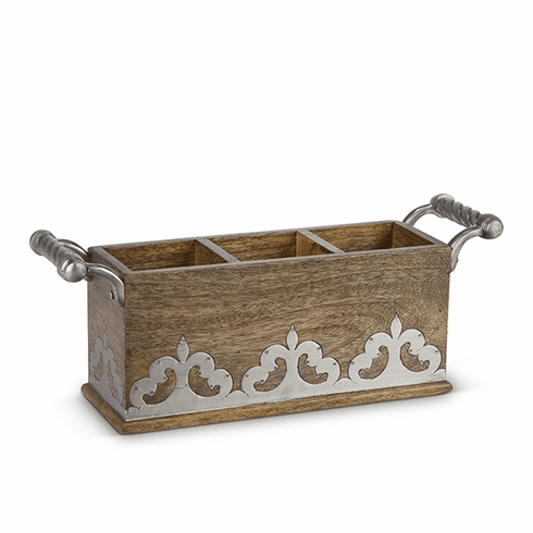 GG Collection Wood And Metal Flatware Caddy