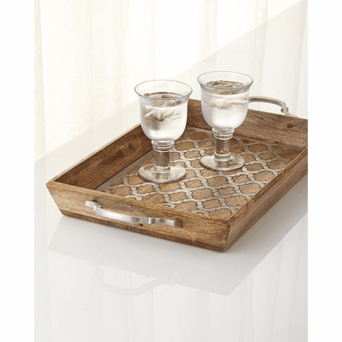 GG Collection Wood And Metal Inlay Ogee-G Tray