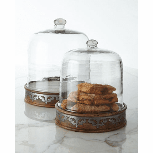 GG Collection Wood And Metal Inlay Sm Pastry Keeper