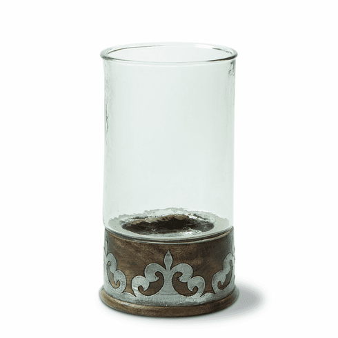 GG Collection Wood And Metal Md Candleholder