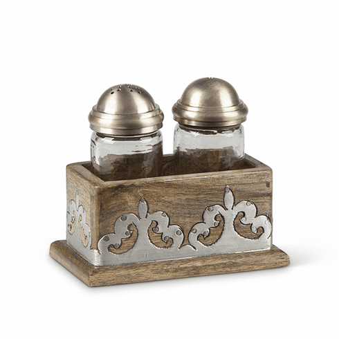 GG Collection Wood And Metal Salt & Pepper Set